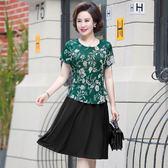 媽媽裝 連衣裙中年女2018新款50歲40中老年女裝過膝大碼短袖裙子