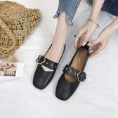 瑪麗珍鞋豆豆鞋女2020新款春季平底奶奶鞋復古淺口單鞋軟皮方頭瑪麗珍鞋子 JUST M
