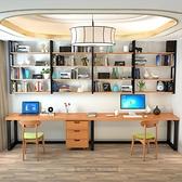 置物架 實木書桌書架收納壁掛牆上置物架組合鐵藝落地書櫃家用電腦桌美式 宜品居家