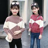 女童毛衣秋裝正韓圓領寬鬆兒童裝洋氣大童打底針織衫上衣 森雅誠品