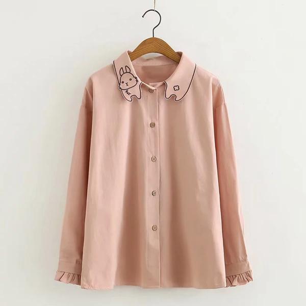 *ORead*日系森女系領口兔子刺繡襯衫(2色F碼)