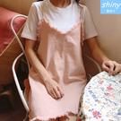 【V8194】shiny藍格子-清新甜美.圓領短袖上衣+毛邊細肩吊帶裙套裝
