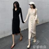 毛衣中長裙 修身針織洋裝女秋冬中長款過膝長裙減齡氣質顯瘦內搭打底毛衣裙 伊莎公主