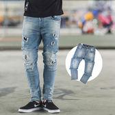 牛仔褲 潑漆破洞補丁彈性褲頭抽繩牛仔褲【NB0224J】