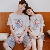 情侶睡衣家居服女夏正韓寬鬆學生卡通棉質男士短袖可愛夏季套裝