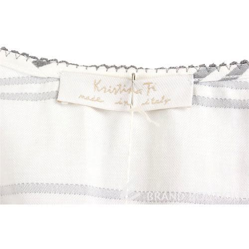 Kristina Ti 白/灰條紋設計大U領洋裝 0820046-48
