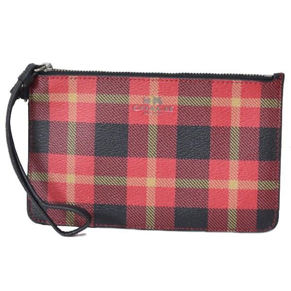 米菲客 COACH 54461 經典馬車LOGO設計 時尚格紋款 防水防刮PVC耐用皮革 手拿包 手機包(紅)