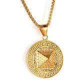 《 QBOX 》FASHION 飾品【CPAE0035】精緻個性三角能量金字塔鑄造鈦鋼墬子項鍊