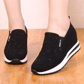 老北京布鞋內增高女鞋厚底厚底楔形水鑚休閒女單鞋樂福鞋鬆糕鞋 黛尼時尚精品