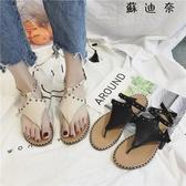 波西米亞涼鞋仙女鉚釘沙灘鞋