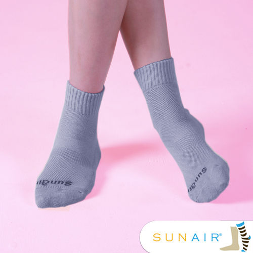 sunair 滅菌除臭襪子-標準型運動襪短筒M(21~24.5) (灰)/SA1802