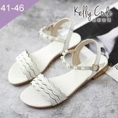 大尺碼女鞋-凱莉密碼-夏日名媛風珍珠波浪真皮羅馬涼鞋2cm(41-46)【BY130-73】白色