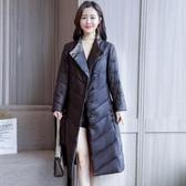 冬裝新款時尚復古盤扣加厚羽絨服女中長款修身黑色氣質皮衣洋裝