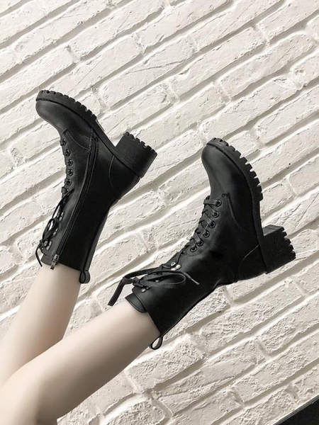 機車帥氣靴子2019秋款百搭馬丁靴女英倫風粗高跟鞋秋冬短靴中筒靴