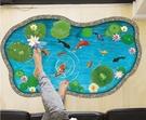 【蓮花池塘牆貼】60x90創意3D立體視覺無痕貼紙 家居客廳玄關浴室地面牆壁貼 防水裝飾地板貼