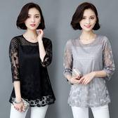 【年終大促】中年婦女裝媽媽夏裝雪紡衫中老年人40-50歲中袖T恤夏天上衣服