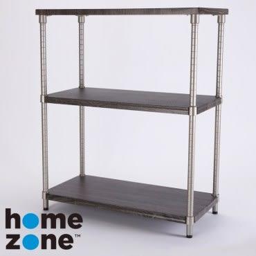 Home Zone 三層木紋層架 寬型 36x76x92cm