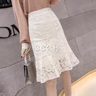 魚尾裙 蕾絲半身裙女魚尾裙適合胯大腿粗的裙子春裝新款仙女超仙森繫