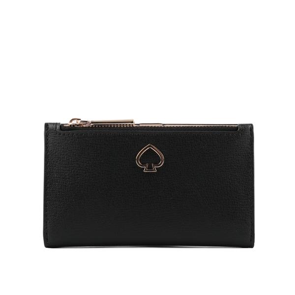 【KATE SPADE】鏤空桃心Logo素面皮革卡夾/零錢包(黑色) WLRU6083 001