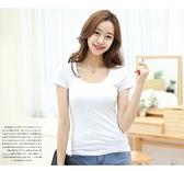 素t 短版上衣修身T恤白色t恤女短袖修身顯瘦純色內搭打底衫上衣S110.165 1號公館