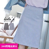LULUS P 格紋側開叉中裙S L 2色現~05020447 ~