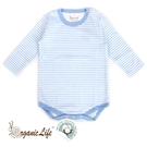 [瑕疵品專區]Organic Life長袖嬰兒連身包屁衣-藍條紋(0-12M) C-OL-CLBS01-L