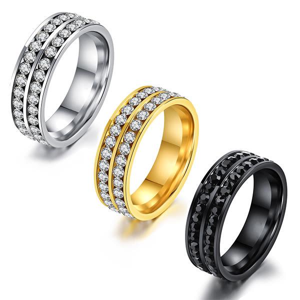 316L西德白鋼 中性戒指 雙排鑽 不生鏽抗過敏 設計單品 搭配 禮物推薦 單個價【BKS556】Z.MO鈦鋼屋