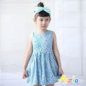 Azio 女童 洋裝 小碎花印花造型抽繩無袖洋裝(藍) Azio Kids 美國派 童裝