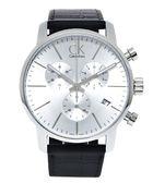 CK Calvin Klein  City 城市極簡時尚皮革男性三眼手錶(K2G271C6)-銀面x黑色/44mm
