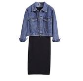 背心裙連身裙中大尺碼XL-5XL新款大碼女裝胖MM顯瘦牛仔短外套針織背心R007.7039愛尚布衣