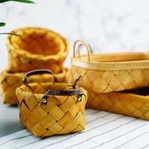 日式木片編織籃藤編面包籃木籃子廚房水果籃蔬菜收納筐籃  igo 居家物語