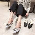 2020年韓版優雅方扣尖頭高跟涼拖鞋2色