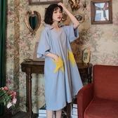 夏天可外穿睡裙女夏季薄款純棉短袖長款睡衣寬鬆大碼星星家居服