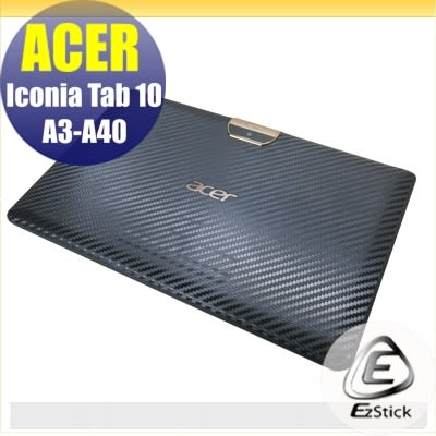 【Ezstick】ACER Iconia Tab 10 A3-A40 專用 Carbon黑色立體紋機身貼 DIY 包膜