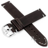 【台南 時代鐘錶 海奕施 HIRSCH】小牛皮錶帶 Ranger L 深棕色 附工具 05402010 復古 箭頭縫線