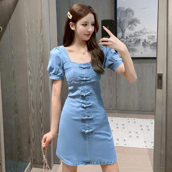 超殺29折 韓國風復古蝴蝶結方領泡泡牛仔裙短袖洋裝