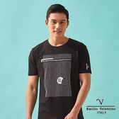 【Emilio Valentino】范倫鐵諾創新圖案印字短袖圓領T恤 -  黑