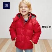 Gap男嬰幼童 簡約純色羽絨鋪棉長袖夾克 304615-摩登紅色