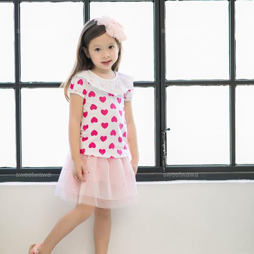 緹花波浪領桃愛心包袖上衣(230072)★水娃娃時尚童裝★