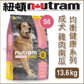 PetLand寵物樂園《紐頓NUTRAM》均衡健康系列 - S6 成犬 雞肉南瓜 13.6kg / 狗飼料