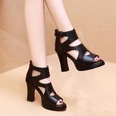 涼鞋 新款鏤空魚嘴羅馬鞋女涼鞋粗跟厚底百搭短靴防水臺高跟涼靴子