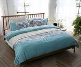 【金‧安德森】精梳棉《瓦地倫_藍》床包四件組 (加大Queen床包)