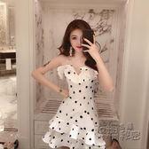 夜店女裝裙子夏新款修身顯瘦吊帶抹胸性感波點法國小眾連身裙  衣櫥秘密