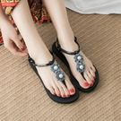 夾腳涼鞋女 甜美花朵沙灘鞋女夏平底百搭新款波西米亞平跟海邊度假涼鞋女