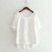 短袖T恤-純色鏤空繡花清新簡約女上衣73sy33【巴黎精品】