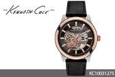 【時間道 】【Kenneth Cole。KC】簍空視覺紳士時尚腕錶/黑面玫瑰金框皮(KC10031275)免運費