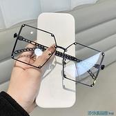 眼鏡框 歐美個性超大框眼鏡女時尚網紅圓臉黑框平光眼鏡架男 快速出貨
