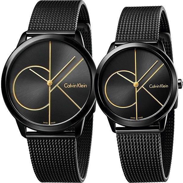Calvin Klein CK Minimal 經典大LOGO對錶/情侶手錶-黑 K3M214X1+K3M224X1