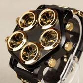 五機芯五錶盤潮男手錶炫酷超大錶盤個性朋克男錶潮牌嘻哈石英腕錶【全館低價沖銷量】