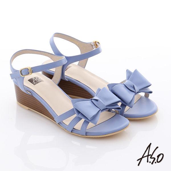 A.S.O 玩美涼夏 牛皮立體蝴蝶結楔型涼鞋 淺紫